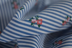 Japanese yarn dyed romantic blue stripes with small flower printed cotton poplin fabric designer shirt fabric -jdby.BSF